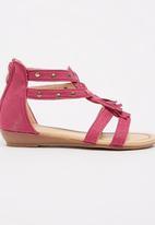 Pretty Feet - Girls  Tassel Sandal Dark Pink