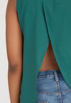 c(inch) - Open Back Shirt Dark Green