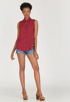 c(inch) - Open Back Shirt Dark Red