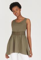 c(inch) - Lace Inset Tunic Dark Green