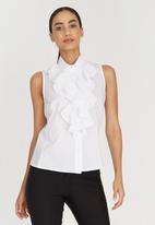edit - Sleeveless Frill Shirt White