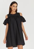 c(inch) - Cold Shoulder Dress Black