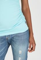 Cherry Melon - Side Gauge Tank Top Turquoise