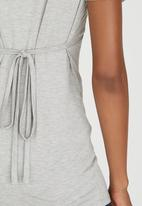 Cherry Melon - Feeding Top with Ruched Sleeve Grey Melange