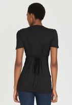 Cherry Melon - Feeding Top with Ruched Sleeve Black