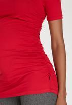 Cherry Melon - Side Gauge Short Sleeve Top Red