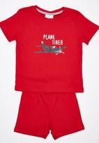 See-Saw - Plane Tired Pj Set Red