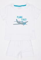 See-Saw - Plane Tired Pj Set White