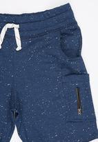 Rebel Republic - Shorts with Raw Edge Detail Navy