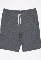 Rebel Republic - Shorts with Raw Edge Detail Dark Grey