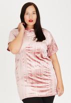 Boohoo - Pleated Velvet Top Mid Pink