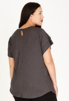 edit Plus - Pleat Front Blouse Grey Melange