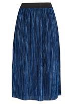 STYLE REPUBLIC - Metallic Midi Skirt Dark Blue