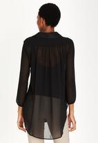 edit Maternity - Longer Length Chiffon Shirt Black