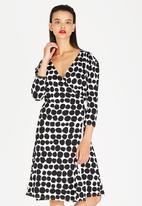 Gert-Johan Coetzee - Printed Wrap Dress Black and White