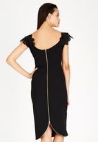 Gert-Johan Coetzee - Ruched Tulle Bodycon Dress Black