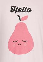 See-Saw - Printed Puff Sleeve Tee Pale Pink