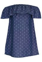 See-Saw - Boho Off The Shoulder Dress Blue
