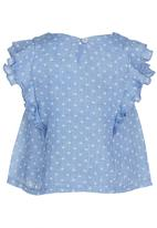 See-Saw - Frill Sleeve Top Mid Blue