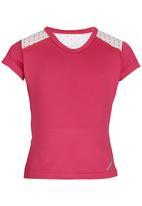 Lithe - Poly Spandex V-neck Top Dark Pink