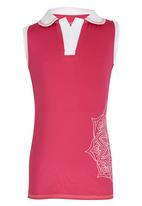 Lithe - Poly Spandex Floral Print Top Dark Pink