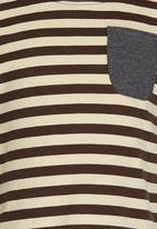 POP CANDY - Printed Stripe Tee Grey