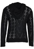 Rebel Republic - Hooded Crochet Knit Black