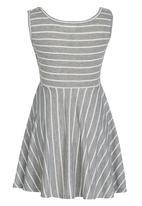 Rebel Republic - Skater Dress with Silver Foil Print Grey