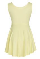 Rebel Republic - Skater Dress with Silver Foil Print  Yellow