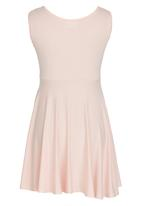 Rebel Republic - Skater Dress with Silver Foil Print  Pale Pink