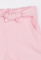 See-Saw - Front Tie Linen Shorts Pale Pink