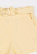 See-Saw - Front Tie Linen Shorts Yellow