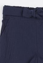 See-Saw - Front Tie Linen Shorts Navy