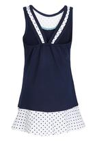 Lithe - Poly Spandex Dress with Floral Print Navy