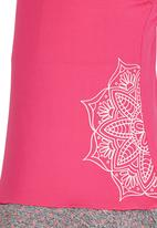 Lithe - Poly Spandex Dress with Floral Print Dark Pink