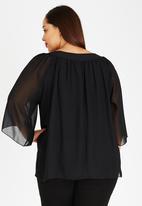 edit Plus - Butterfly Sleeve Blouse Black
