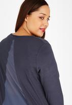 edit Plus - Mixed Fabric Hi -Lo HemTunic Grey Melange