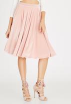 Boohoo - Velveteen Skater Skirt Pale Pink