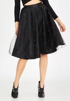 Boohoo - Satin Full Skirt with Beaded Tulle Overlay Black