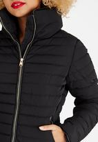 Tokyo Laundry - Puffer Jacket with Leather-look Trim Black