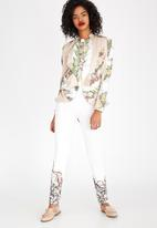 Judith Atelier - Marbled Panelled Flared Lined Jacket Milk