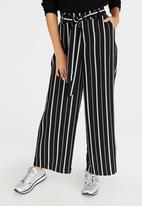 ONLY - Parker Stripe Wide Leg Pants Black and White