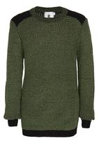 Rebel Republic - 2 Tone Knit Jumper Khaki Green