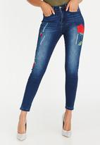 Sissy Boy - Ruby Skinny Jeans with Roses Dark Blue