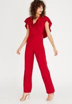 Gert-Johan Coetzee - Back Lace Jumpsuit Dark Red