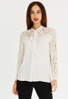 ONLY - Star Bow Detail Shirt Stone