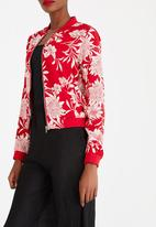 ONLY - Flower Bomber Jacket Red
