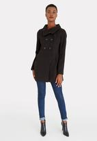 edit - Double Breasted Funnel Neck Coat Black