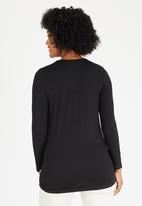 Cherry Melon - Pleat Top long sleeve CM390A- Black Black