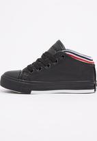 Foot Focus - PU Hi Top Sneaker Black